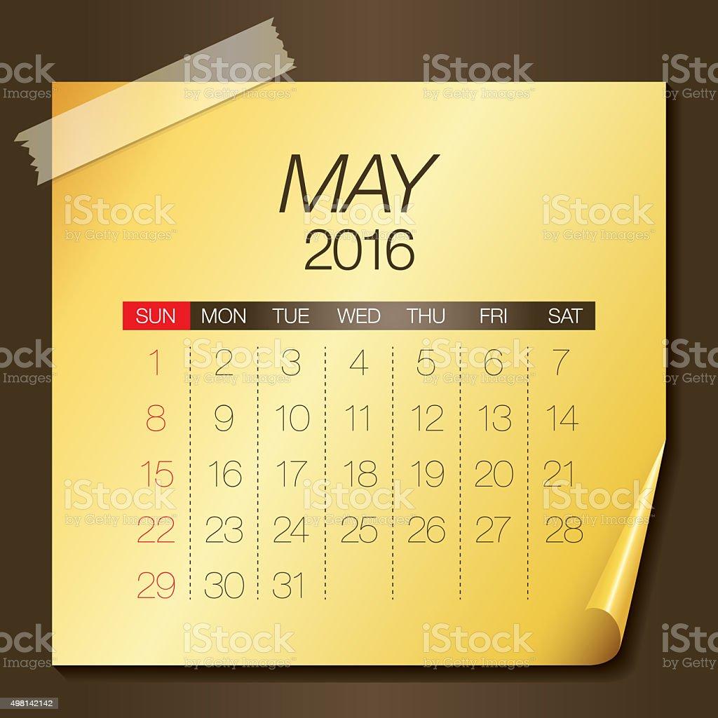 Calendar- May 2016 vector art illustration