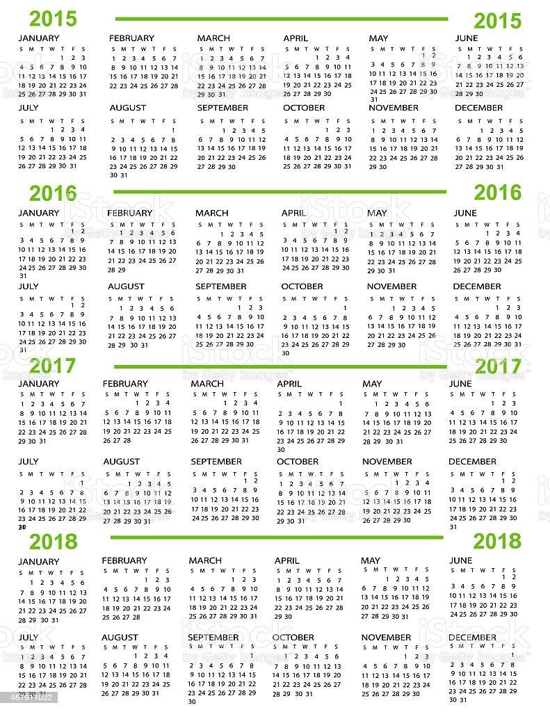 Calendar, New Year   2015, 2016, 2017,  2018 vector art illustration
