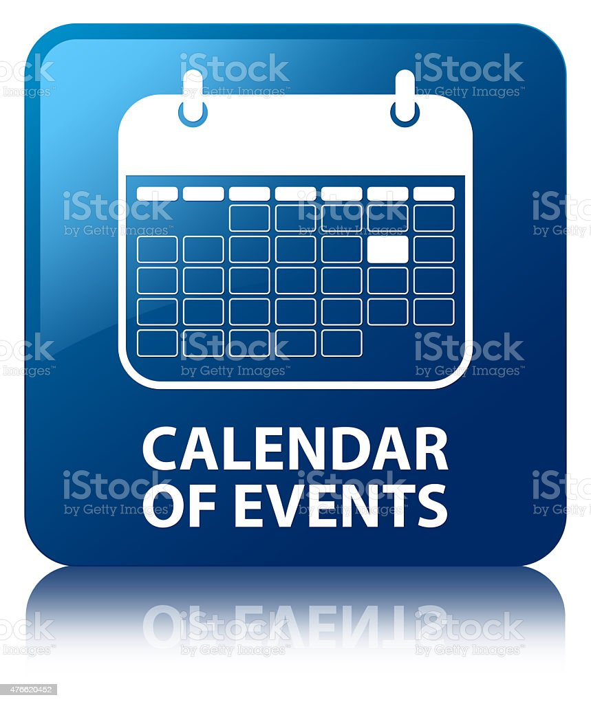 Calendar of events blue square button vector art illustration