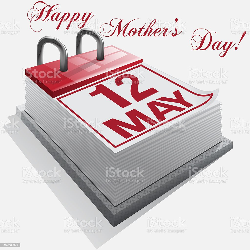Calendar.12 May. Happy Mother's Day vector art illustration