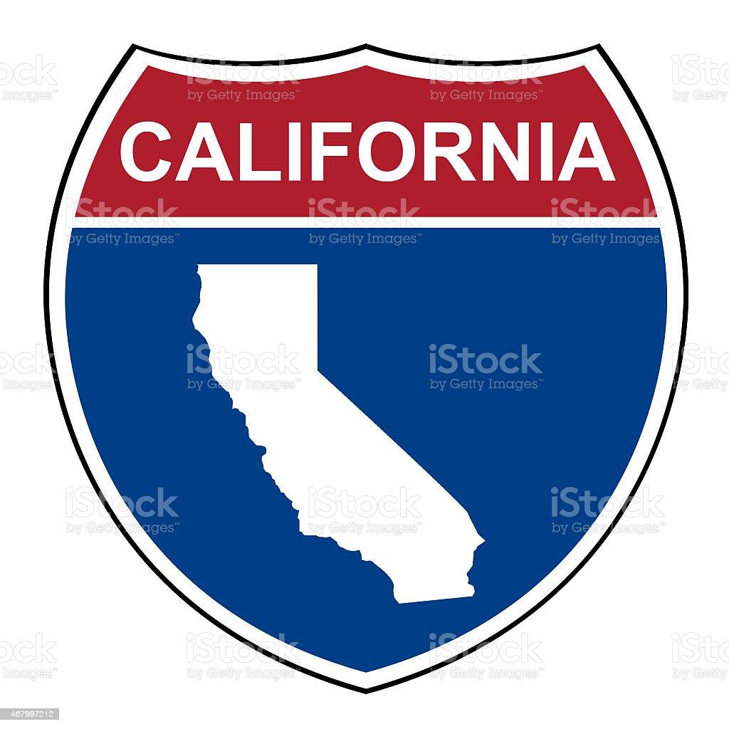 California interstate highway shield vector art illustration