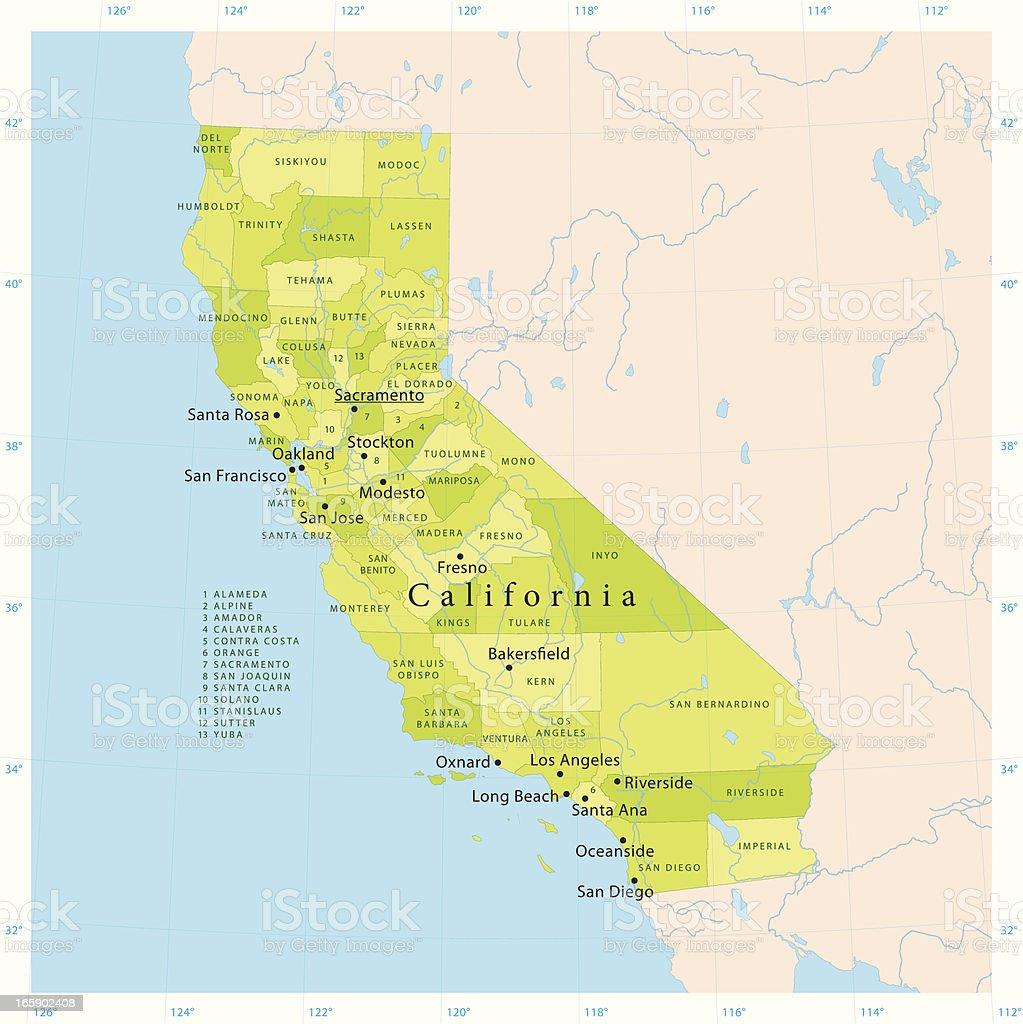 California Vector Map vector art illustration