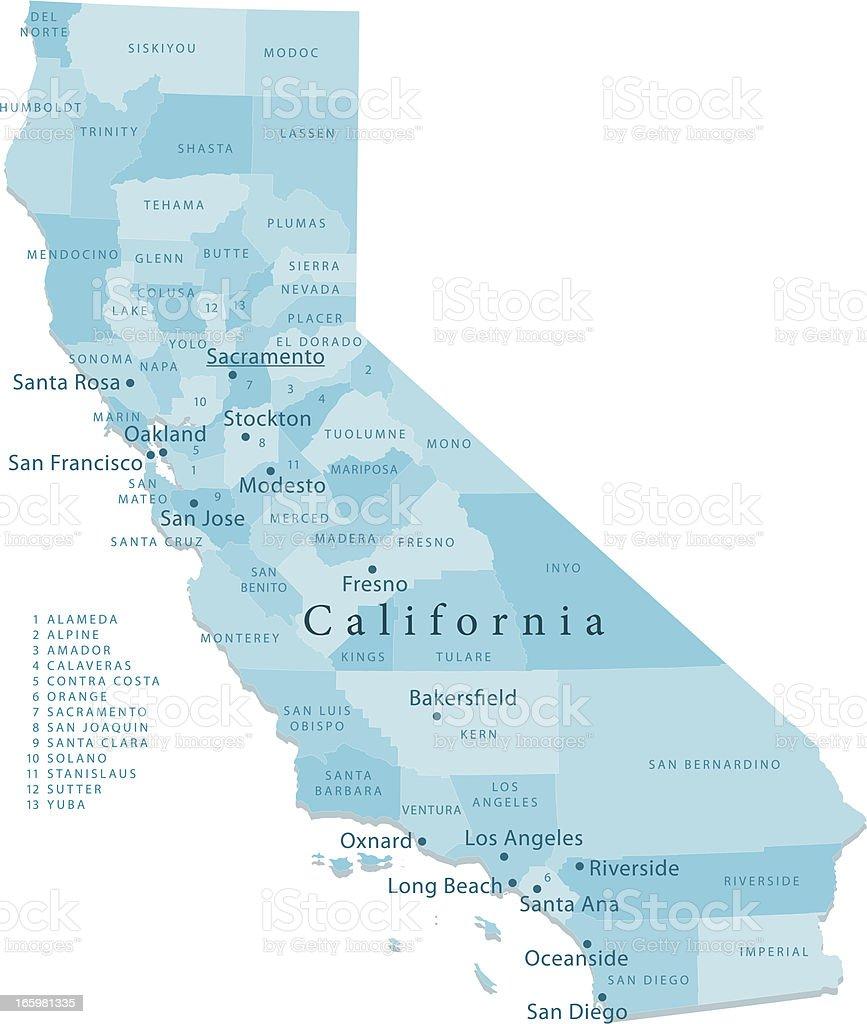 California Vector Map Regions Isolated vector art illustration