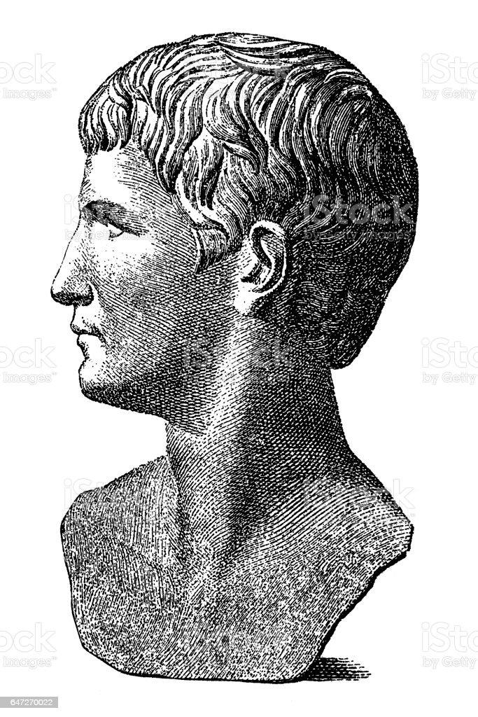 Caligula ,Gaius Julius Caesar Augustus Germanicus vector art illustration