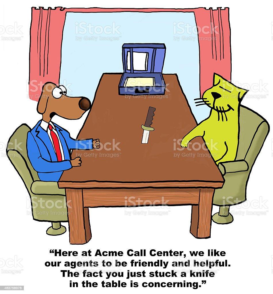 Call Center Appropriate Behavior vector art illustration