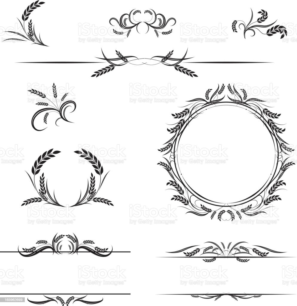 Calligraphic Wheat Elements Vector Illustration vector art illustration