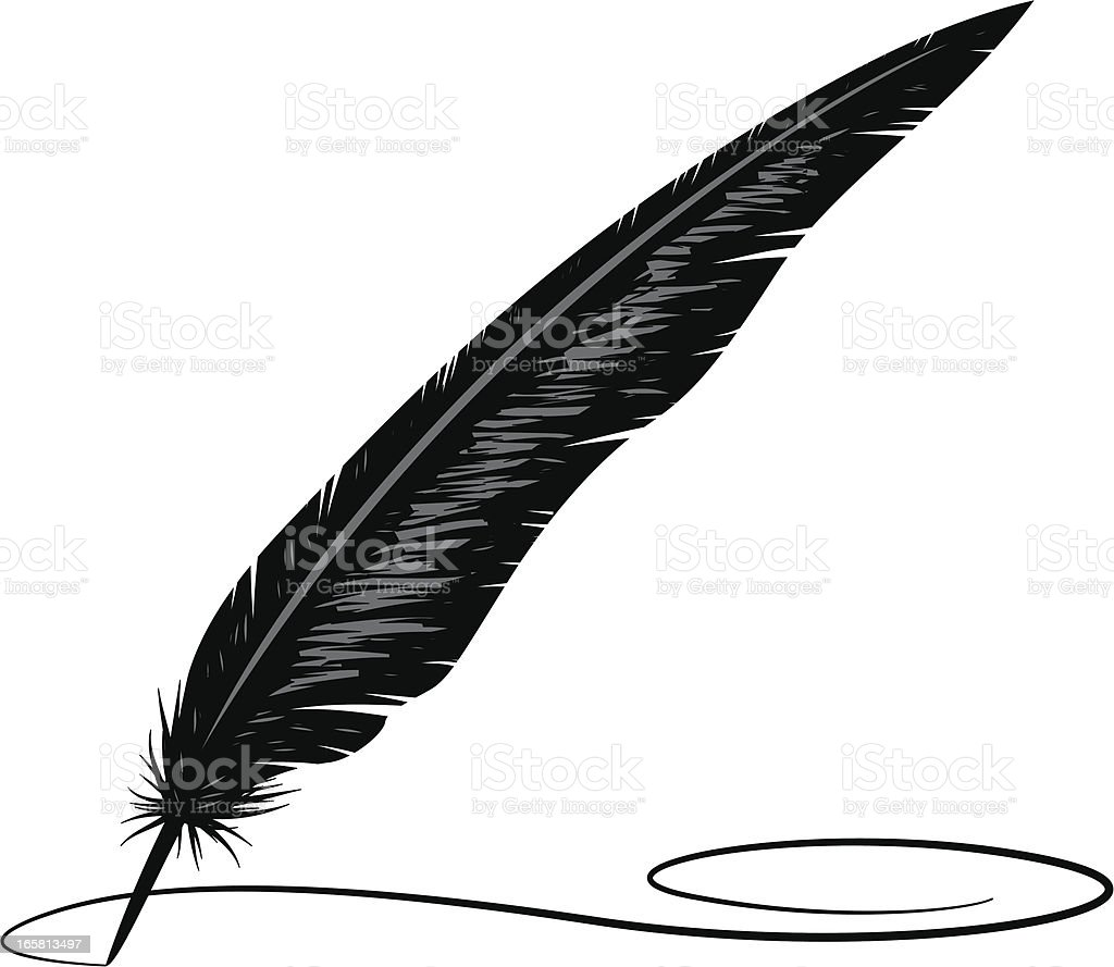 calligraphy feather royalty-free stock vector art