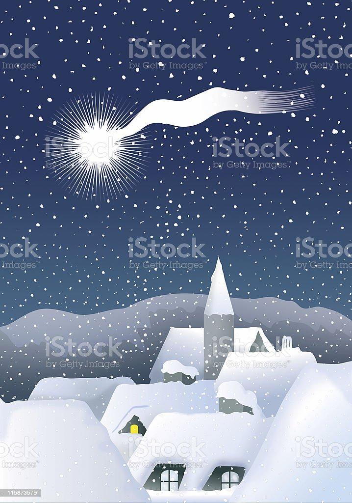 Calm Christmas village royalty-free stock vector art
