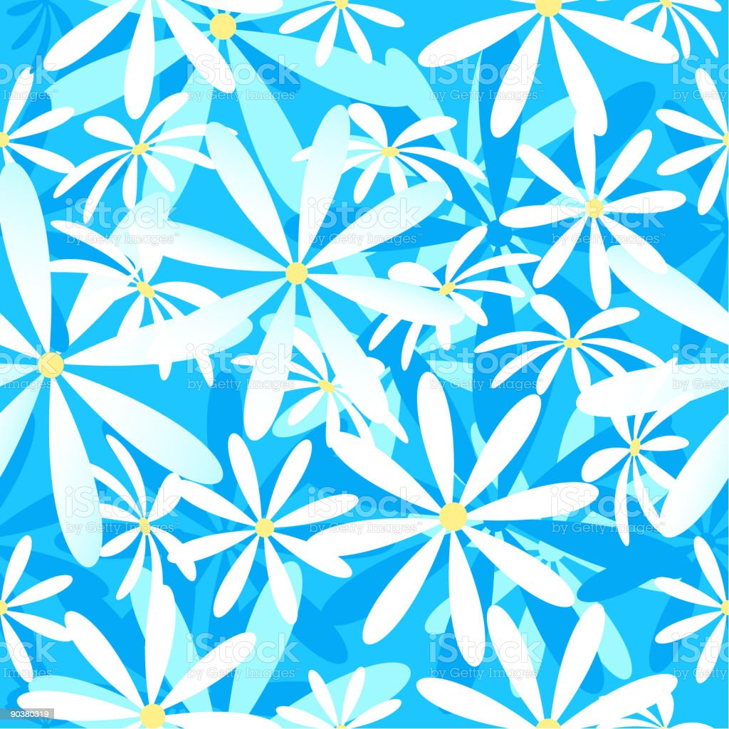Calypso Daisies Seamless Wallpaper Background royalty-free stock vector art