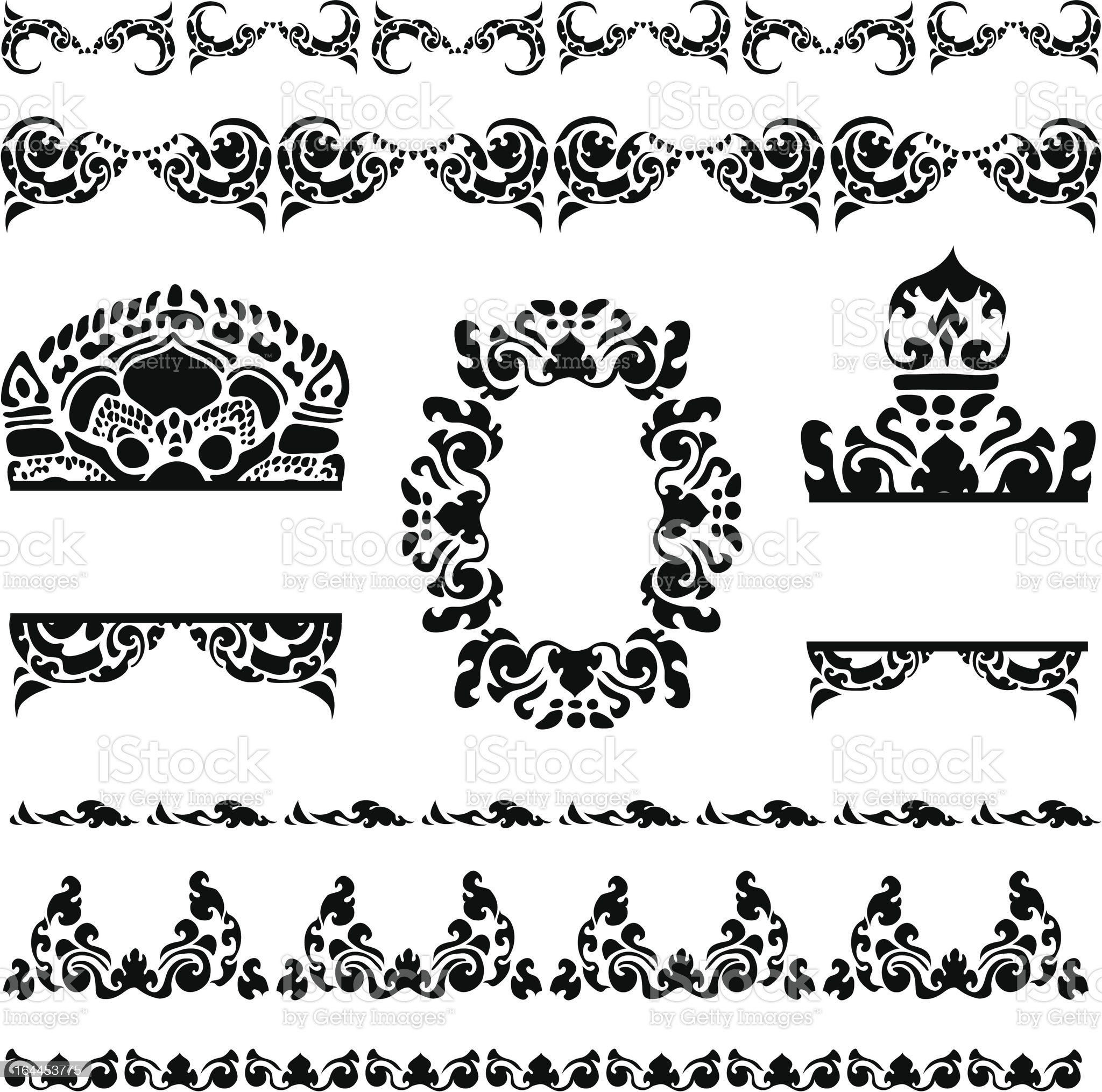 Cambodian floral frames royalty-free stock vector art
