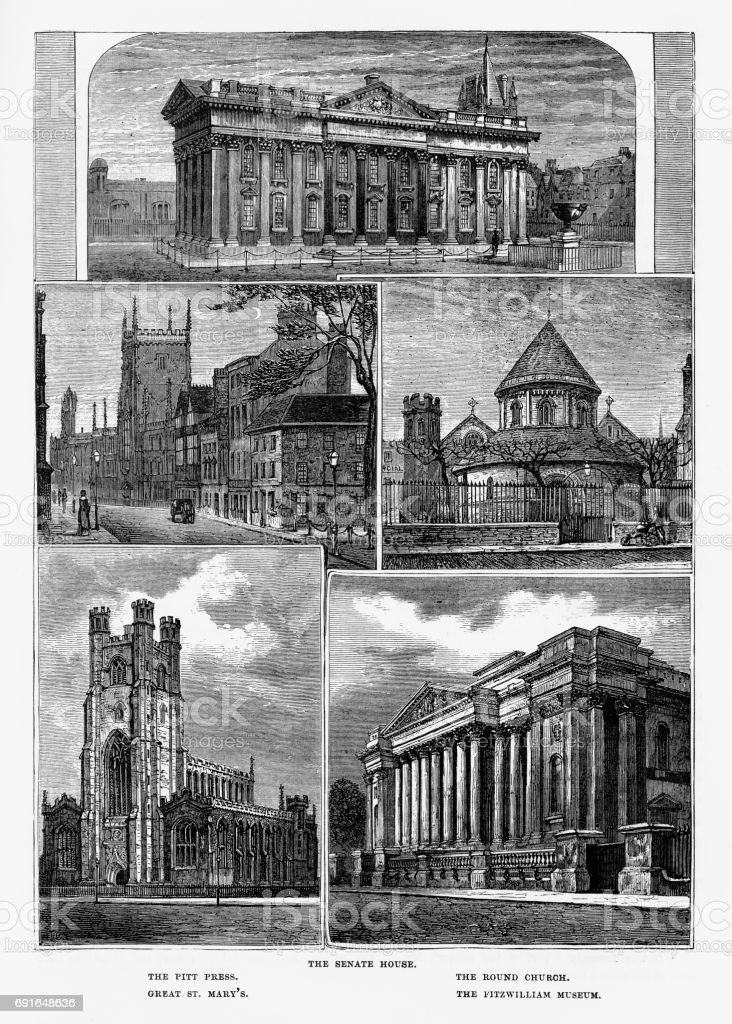 Cambridge, Cambridgeshire, England Victorian Engraving, 1840 vector art illustration