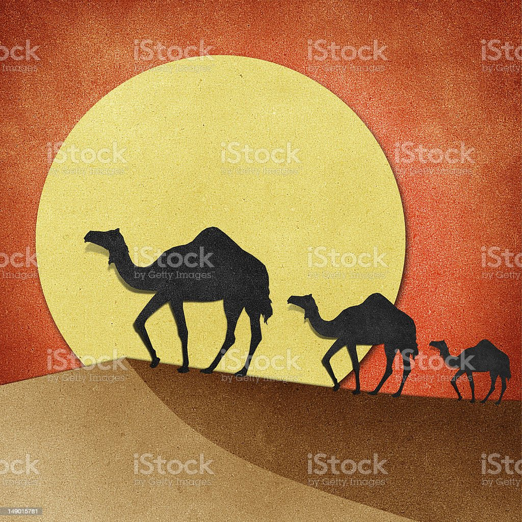 Camel and pyramid on desert Recycled Paper craft royalty-free stock vector art