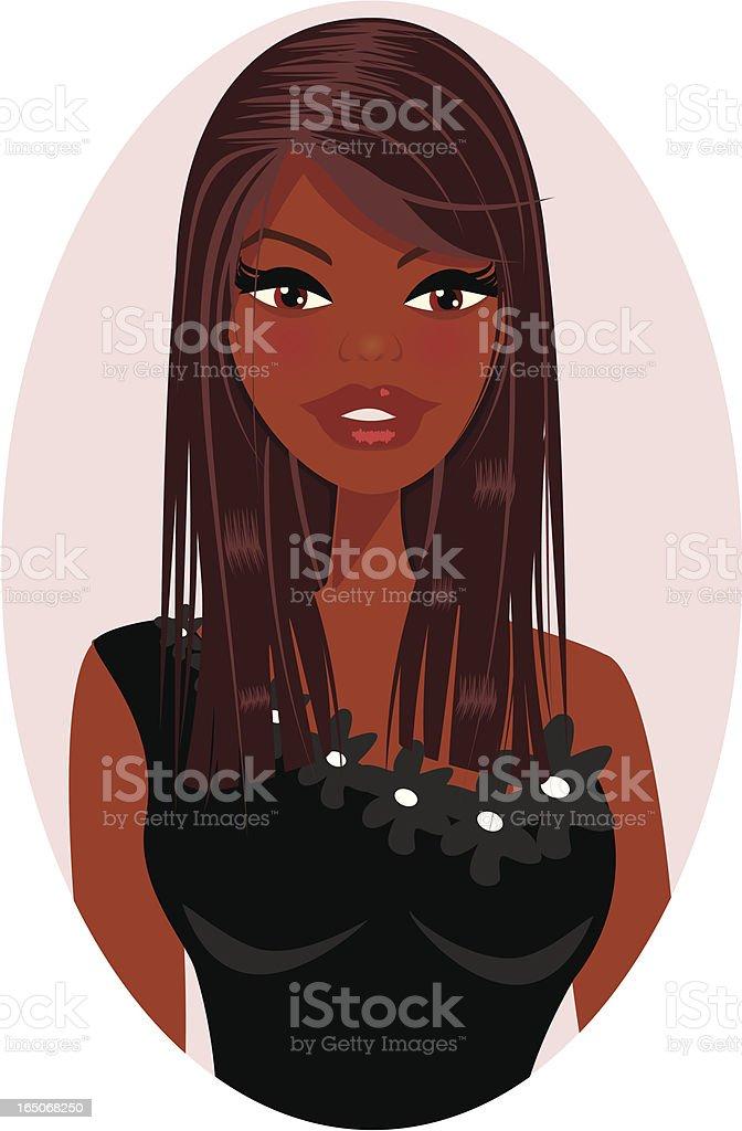 Cameo of Dark Skinned Girl vector art illustration