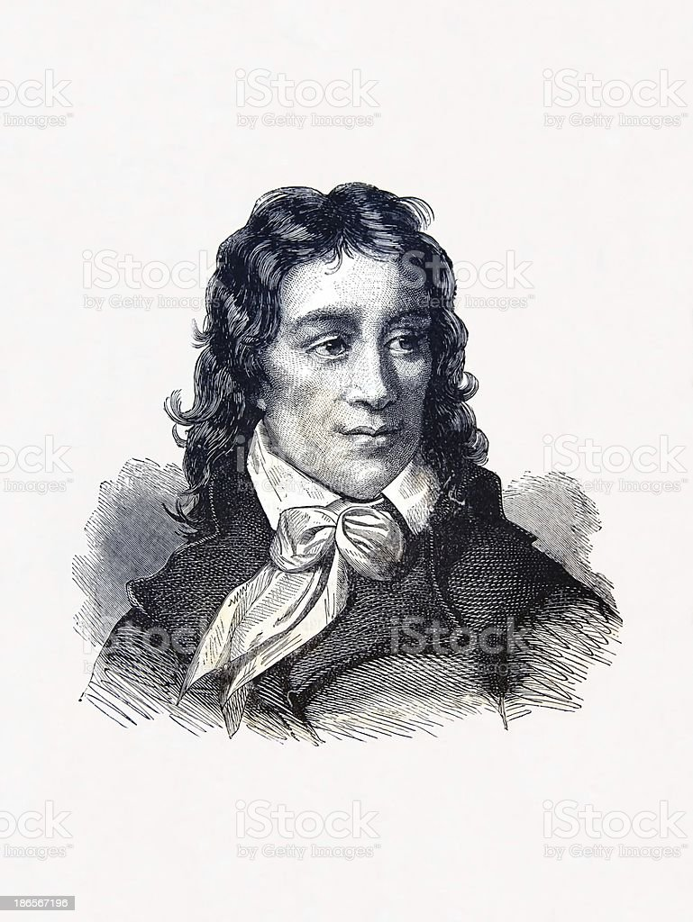 Camille Desmoulins, French revolutionary, engraving by A  Loudet  1836 1898 royalty-free stock vector art