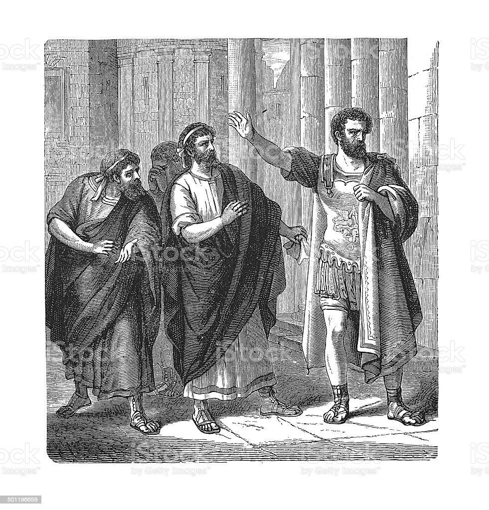 Camillus' Banishment (antique engraving) vector art illustration
