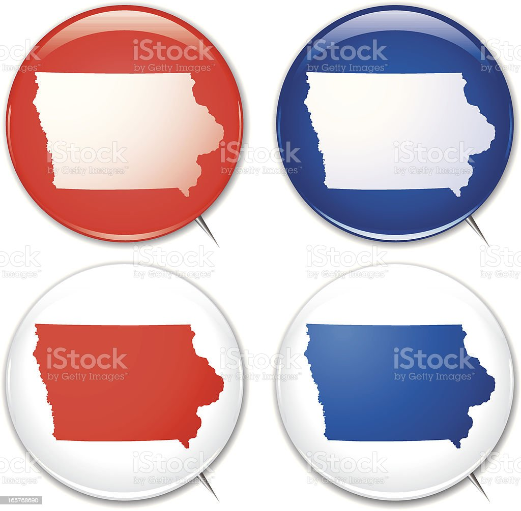 Campaign Buttons - Iowa royalty-free stock vector art