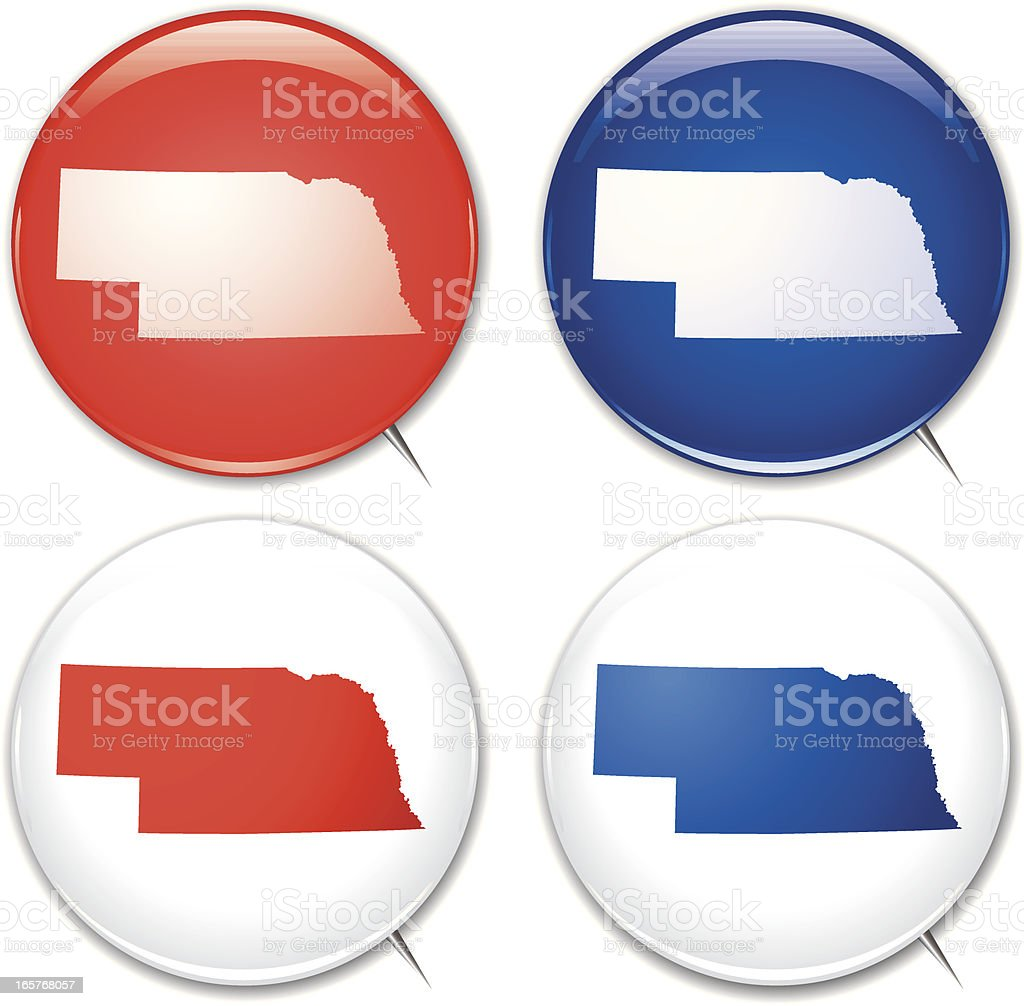 Campaign Buttons - Nebraska royalty-free stock vector art