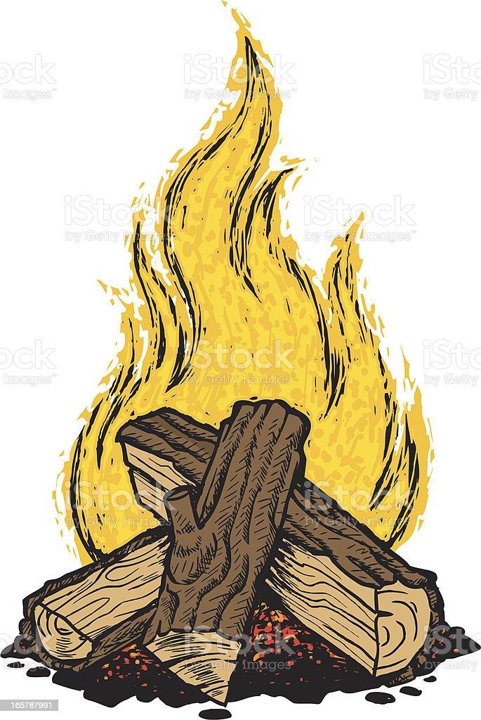 campfire vector art illustration