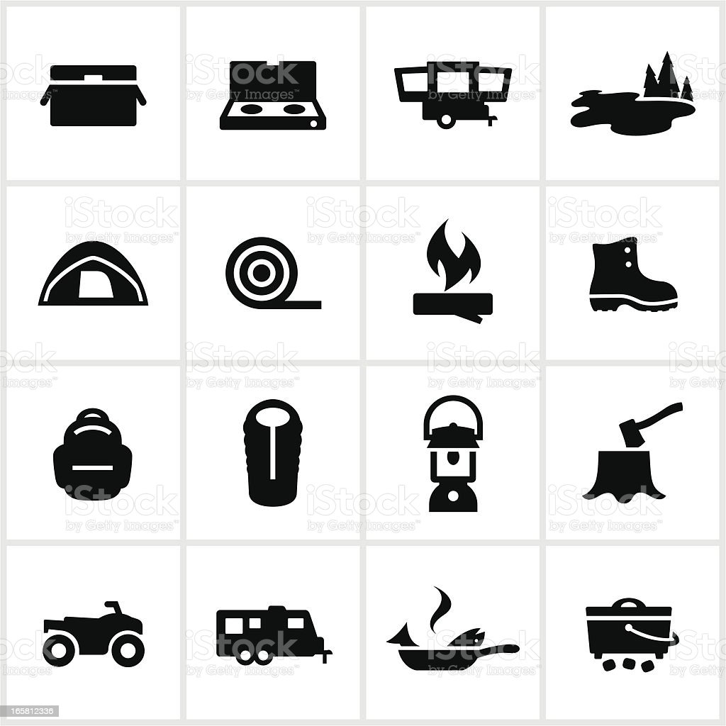 Camping and Outdoor Adventure Icons vector art illustration