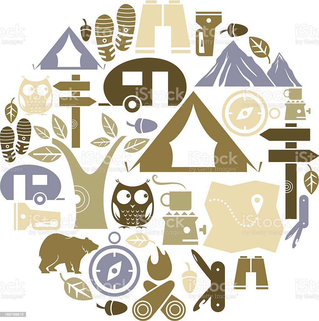 Camping and Outdoor Icon Set vector art illustration