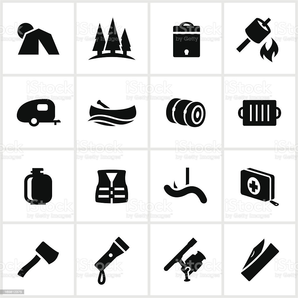 Camping and Outdoor Recreation Icons vector art illustration