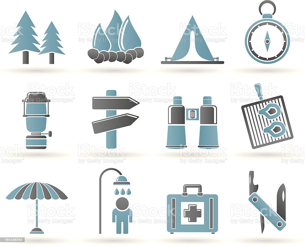 Camping, travel and Tourism icons royalty-free stock vector art