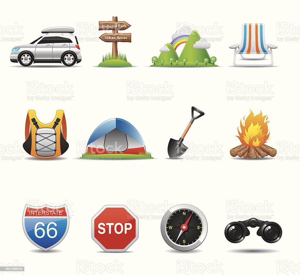Camping & Travel Icon Set | Elegant Series royalty-free stock vector art
