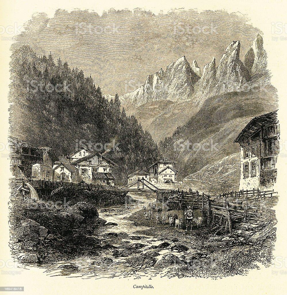 Campitello, Italy (antique wood engraving) royalty-free stock vector art