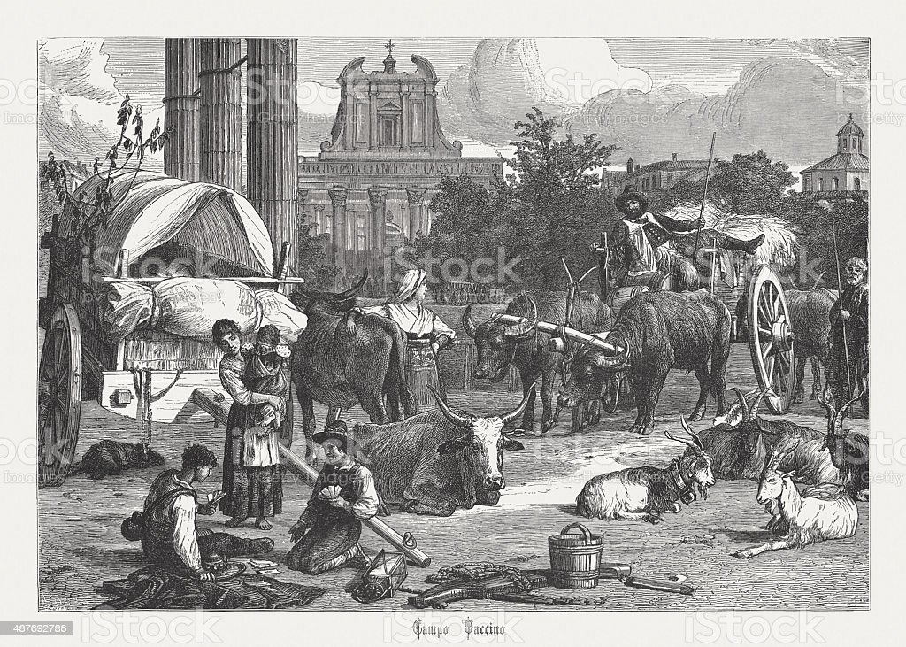 Campo Vaccino, Roman Forum in the Past, published in 1878 vector art illustration