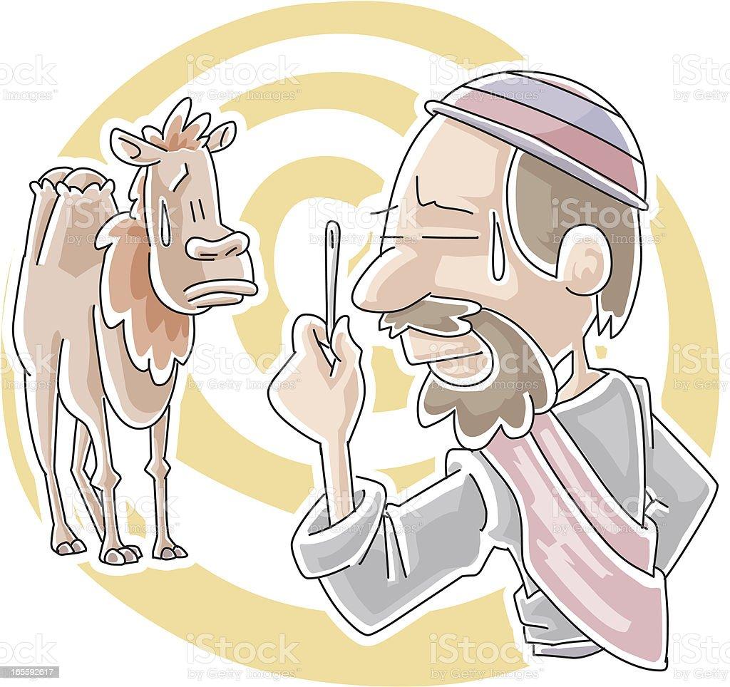Can camel go through needle's eye? royalty-free stock vector art