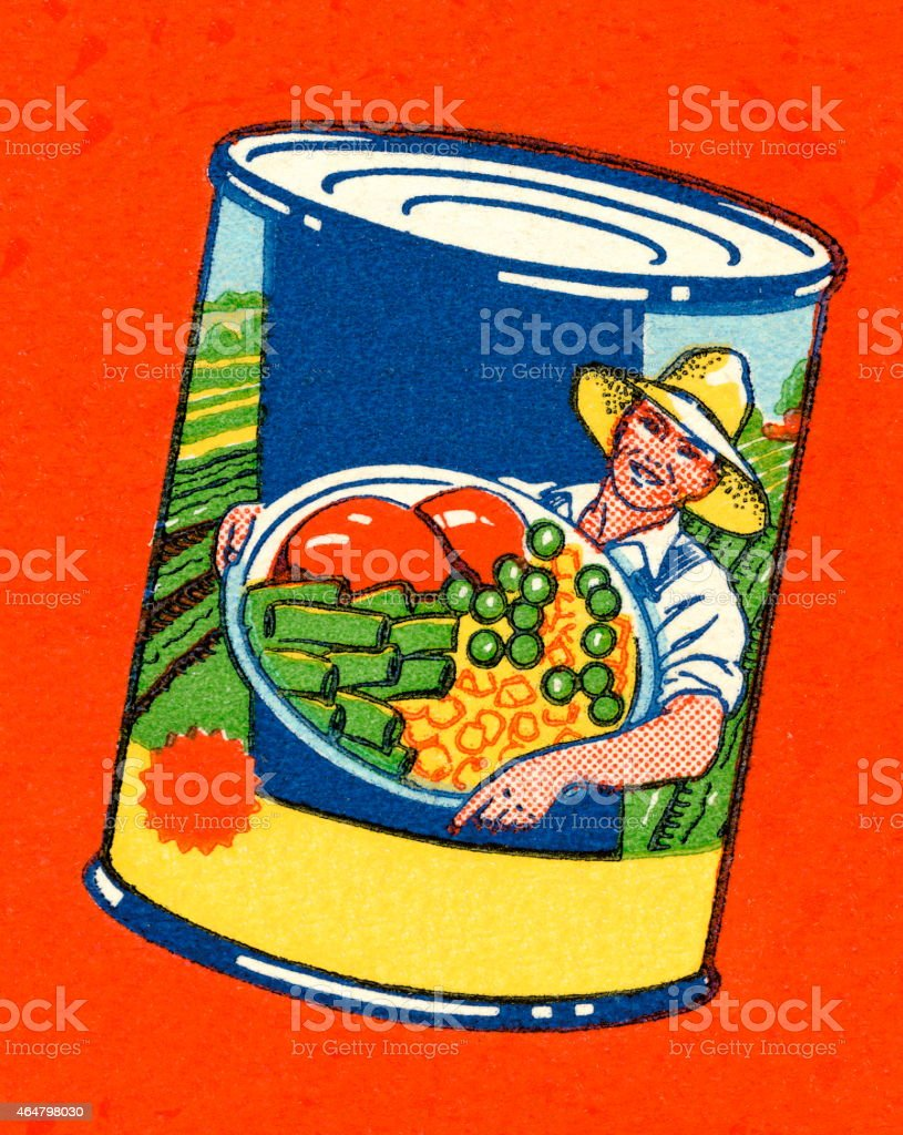 Can of Vegetables vector art illustration