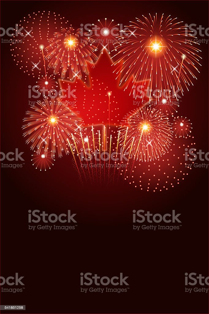 Canada Day background[Maple Leaf and Fireworks] vector art illustration