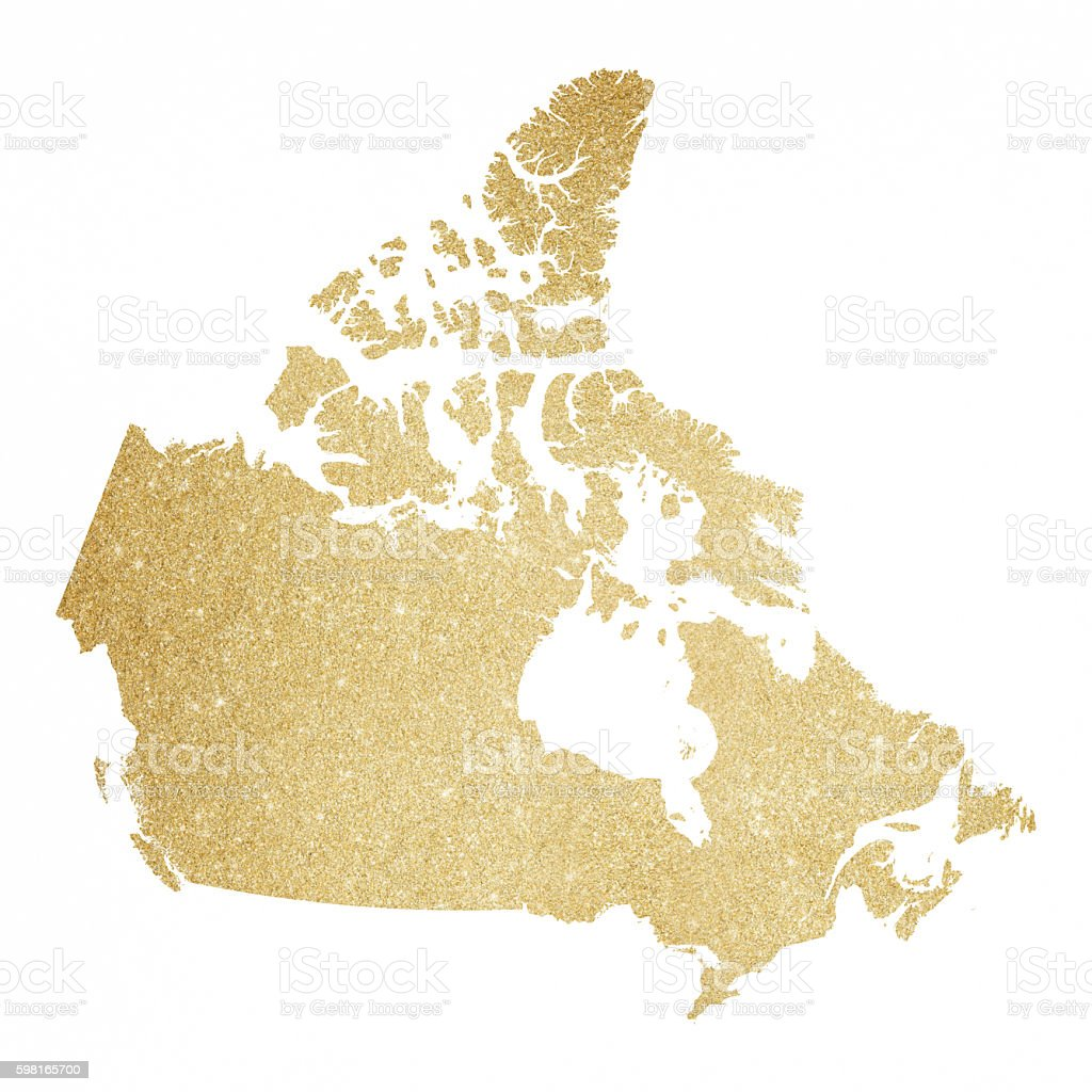 Canada Gold Glitter Map Royaltyfree Stock Vector Art