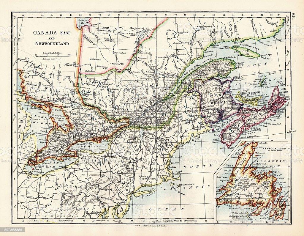 Canada map 1883 vector art illustration