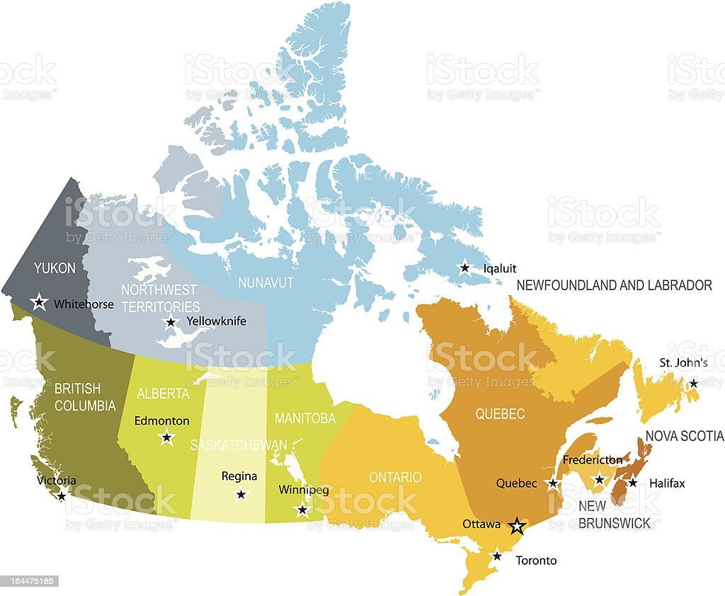 Canada map of provinces and territories vector art illustration