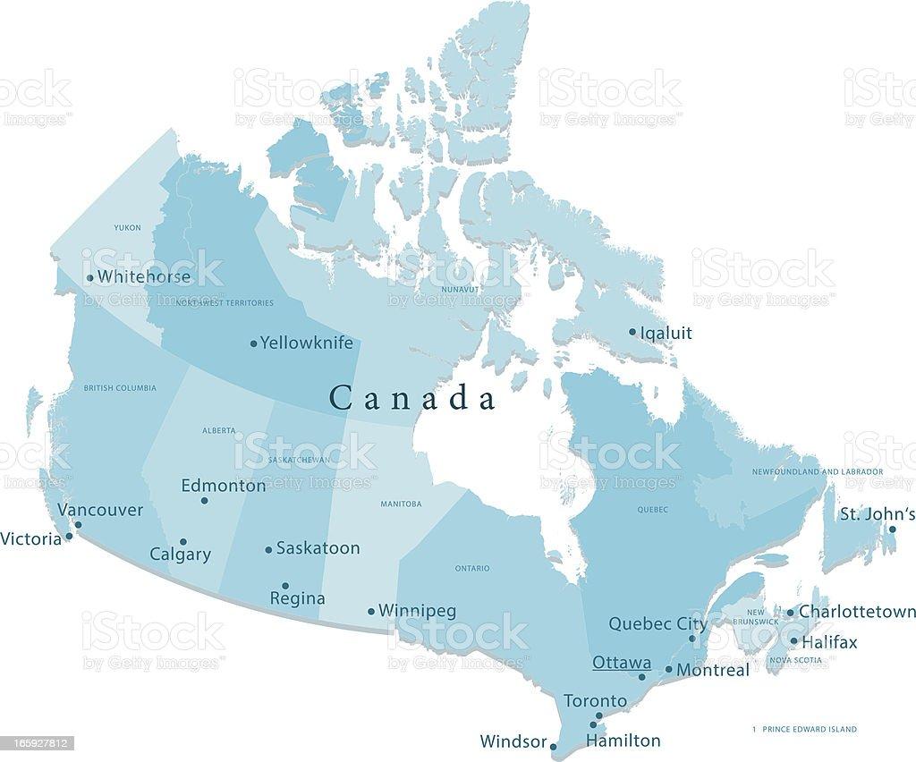 Canada Vector Map Regions Isolated royalty-free stock vector art