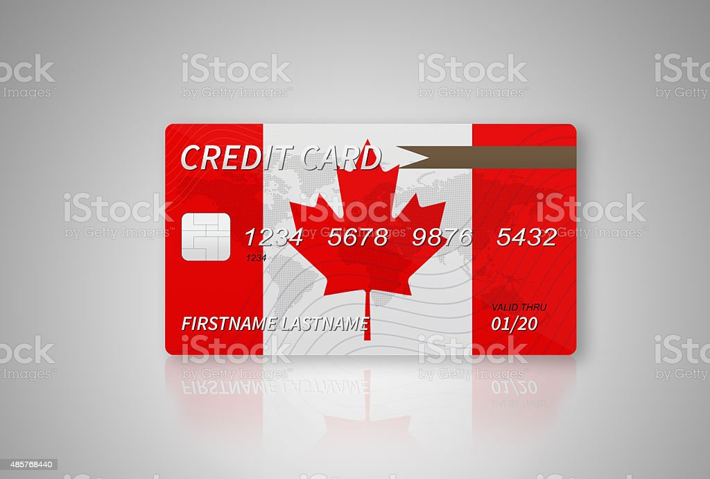Canadian Credit Card on Gradient Background with Beautiful Reflections vector art illustration