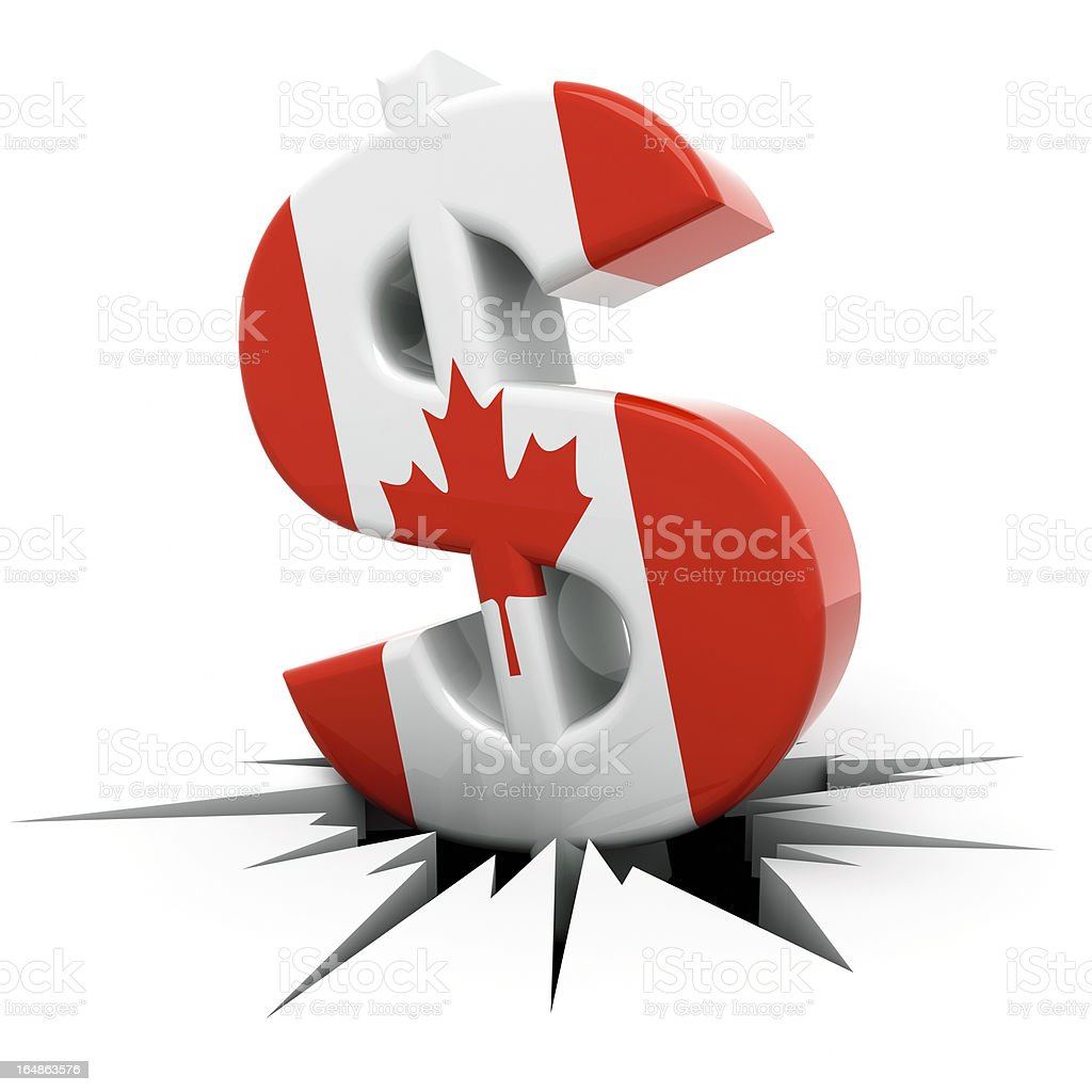 Canadian Dollar Crash Concept vector art illustration