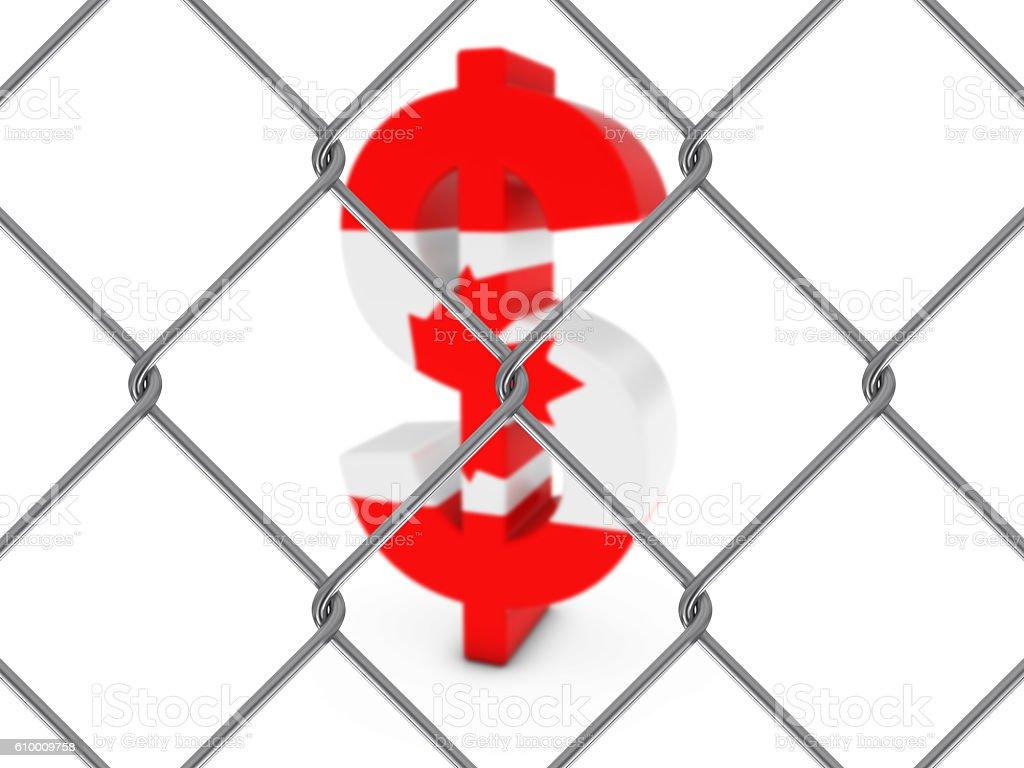 Canadian Flag Dollar Symbol Behind Chain Link Fence vector art illustration