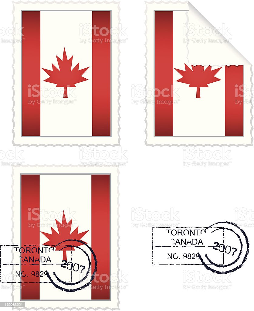 Canadian Flag Stamp Set royalty-free stock vector art