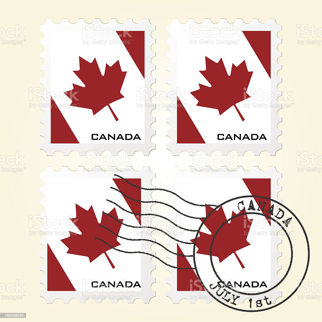 Canadian Flag Stamps royalty-free stock vector art