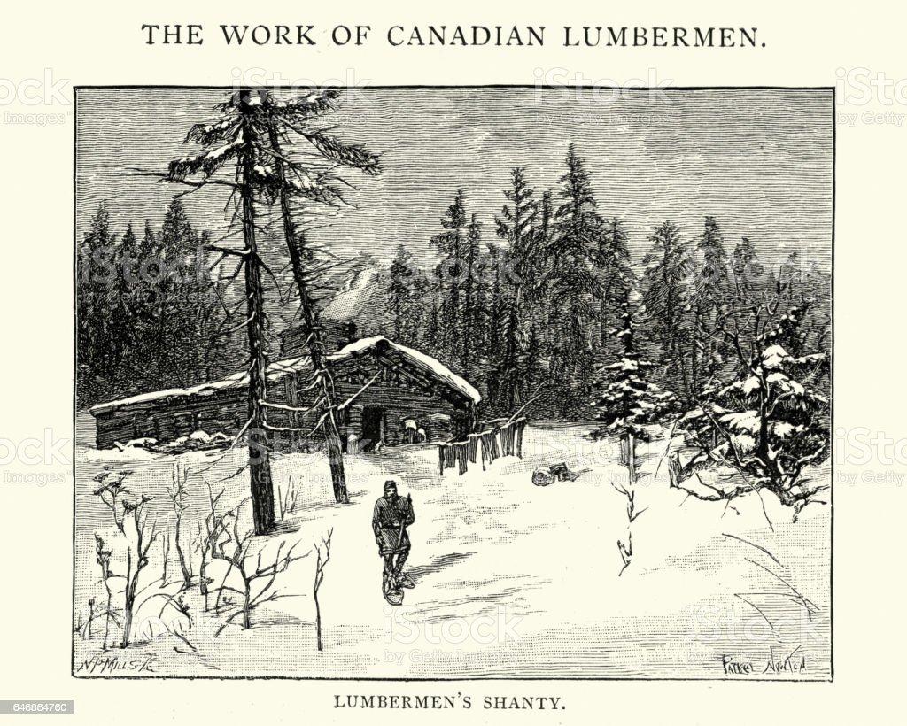 Canadian lumberjacks shanty in the forest, 1892 vector art illustration