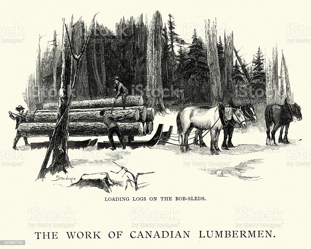 Canadian lumbermen loading logs on bobsleds vector art illustration