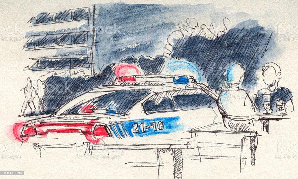 Canadian Police Car Lights Drawing vector art illustration