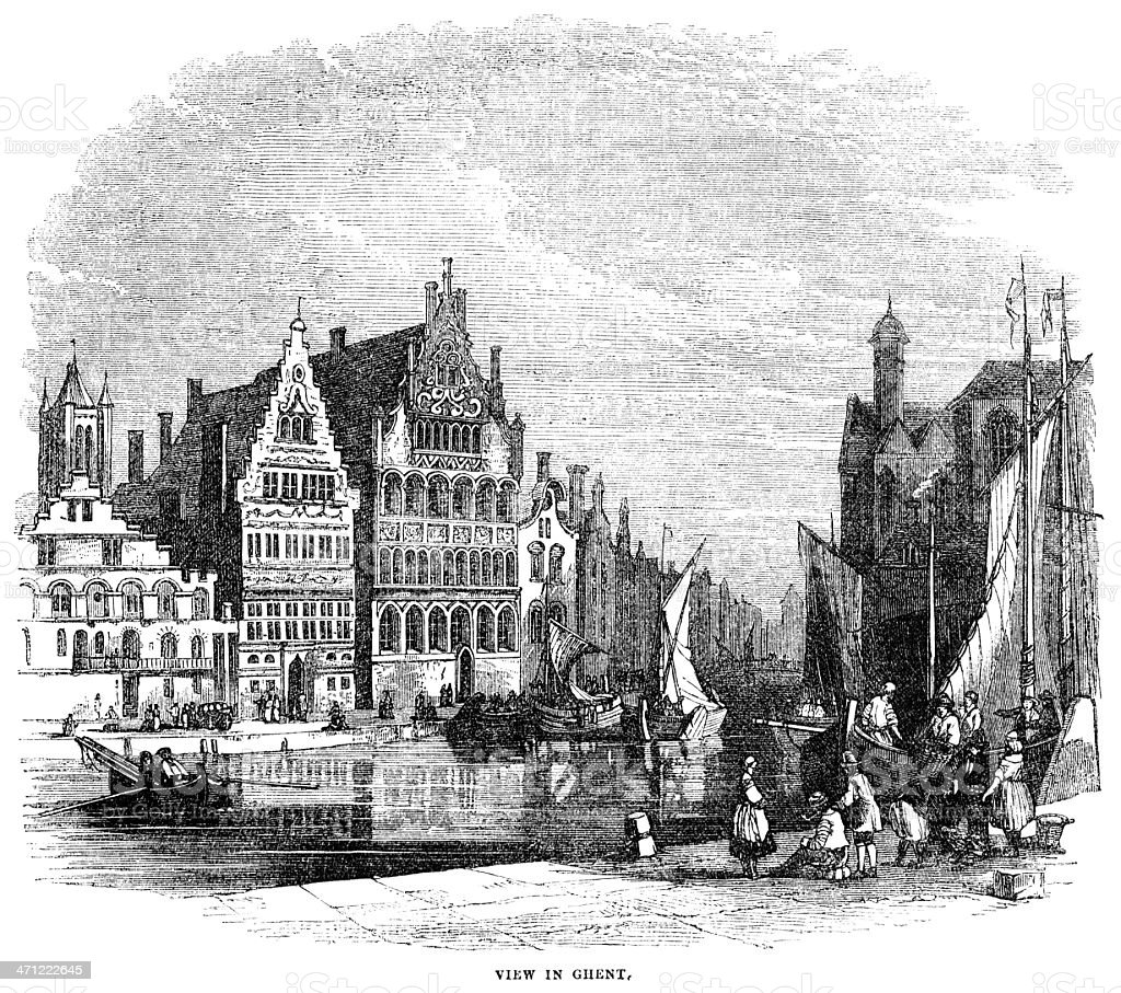 Canal scene in Ghent - 1855 engraving vector art illustration