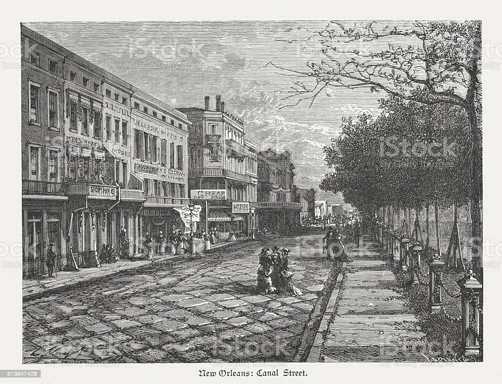 Canal Street in New Orleans, wood engraving, published in 1880 vector art illustration