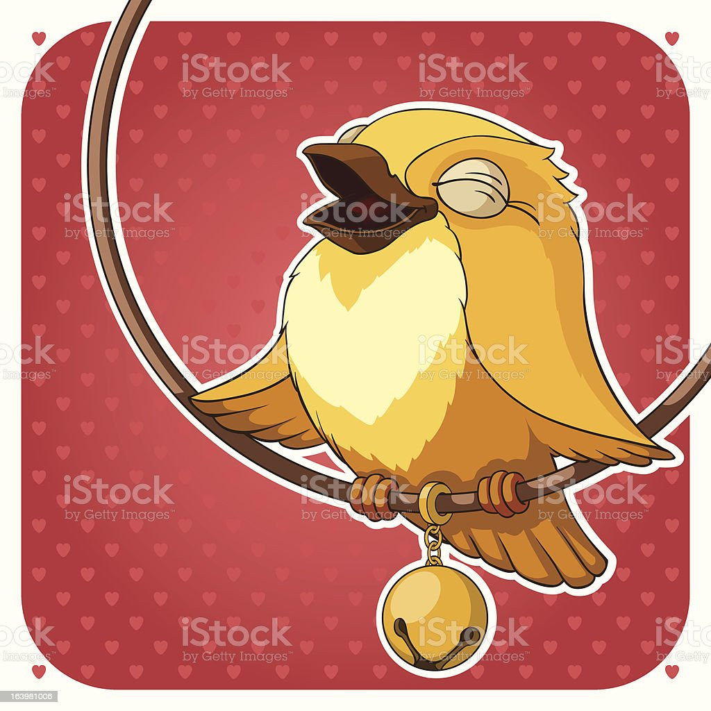 Canary on background with hearts royalty-free stock vector art