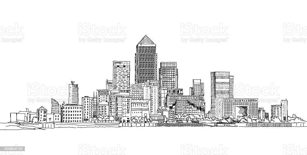 Canary Wharf business aria, London vector art illustration