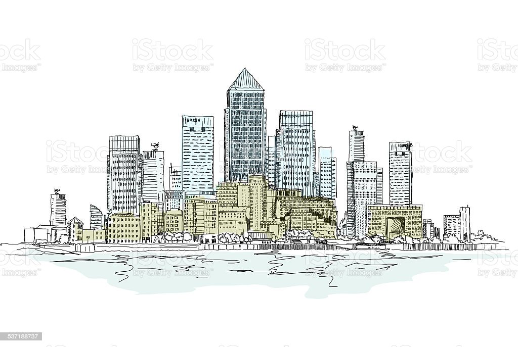 Canary Wharf business aria, London, Sketch collection vector art illustration