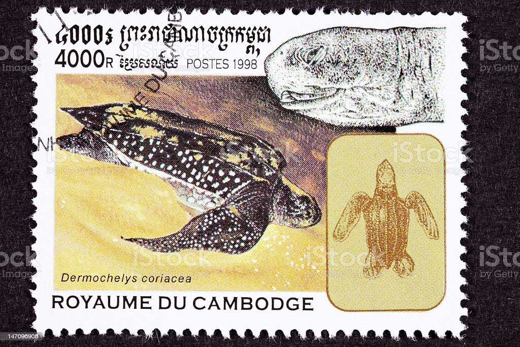 Canceled Cambodian Postage Stamp Swimming Leatherback Sea Turtle, Dermochelys Coriacea vector art illustration